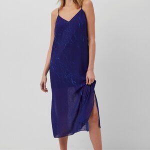 Calandra Crinkle Midi Slip Dress - blue