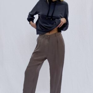 Rosanna Cupro Pleat Front Trousers - mocha mousse