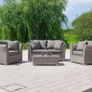 2 Seat Rattan Garden Sofa Set in Grey - Lisbon - Rattan Direct