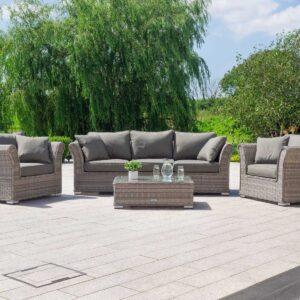 3 Seat Rattan Garden Sofa Set in Grey - Lisbon - Rattan Direct