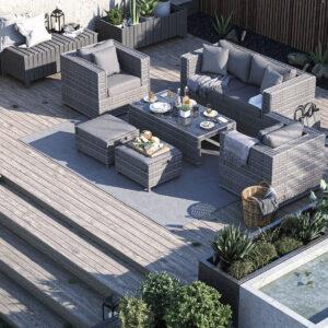 2 Seater Rattan Garden Sofa Set in Grey - Ascot - Rattan Direct