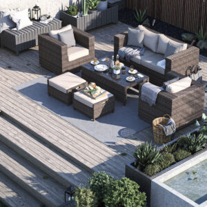 2 Seater Rattan Garden Sofa Set in Truffle Brown & Champagne - Ascot - Rattan Direct