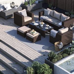 3 Seater Rattan Garden Sofa Set in Brown - Ascot - Rattan Direct