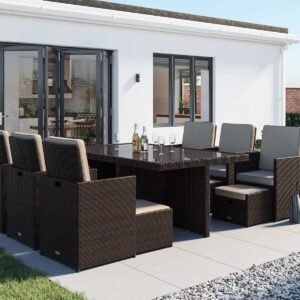 6 Seat Rattan Garden Cube Dining Set in Brown with Footstools - Barcelona - Rattan Direct