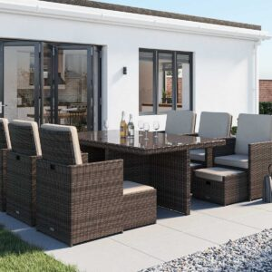 6 Seat Rattan Garden Cube Set in Truffle Brown with Footstools - 13 Piece - Barcelona - Rattan Direct