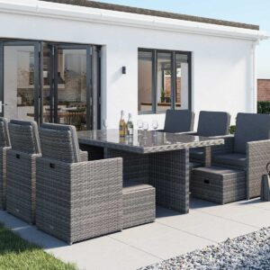 6 Seat Rattan Garden Cube Dining Set in Grey with 6 Footstools - Barcelona - Rattan Direct