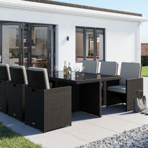 6 Seat Rattan Garden Cube Set in Black & White - Barcelona - Rattan Direct