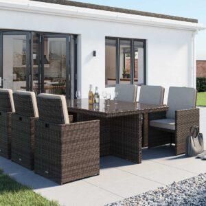 6 Seat Rattan Garden Cube Set in Truffle Brown & Champagne - Barcelona - Rattan Direct