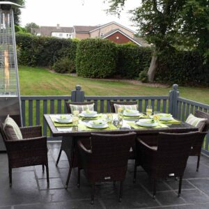 6 Seat Rattan Garden Dining Set With Rectangular Dining Table in Brown - Cambridge - Rattan Direct