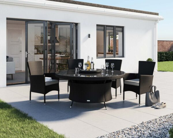 4 Rattan Garden Chairs & Large Round Dining Table Set in Black & White - Cambridge - Rattan Direct