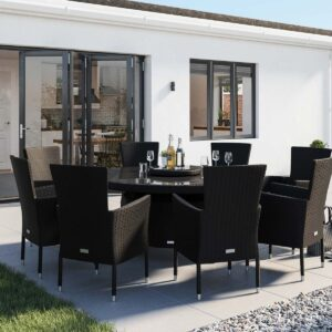 8 Seat Rattan Garden Dining Set With Large Round Dining Table in Black & White - Cambridge - Rattan Direct