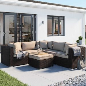 Rattan Garden Corner Sofa Set in Brown - 6 Piece - Florida - Rattan Direct