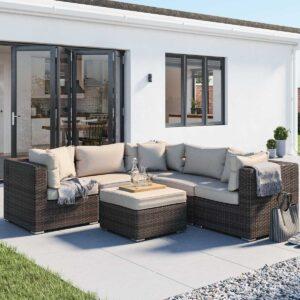 Rattan Garden Corner Sofa Set in Brown & Champagne - 6 Piece - Florida - Rattan Direct