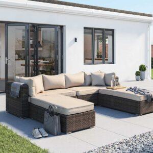 Rattan Garden Day Bed Sofa Set in Truffle Brown & Champagne - Monaco - Rattan Direct