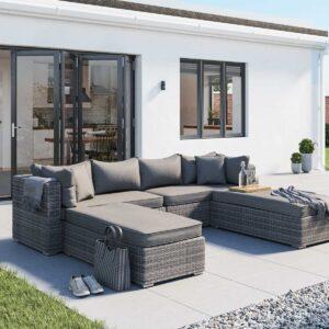 Rattan Garden Day Bed Sofa Set in Grey - Monaco - Rattan Direct