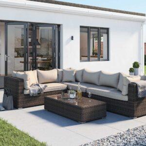 Rattan Garden Righthand Corner Sofa Set in Truffle Brown & Champagne - Monaco - Rattan Direct