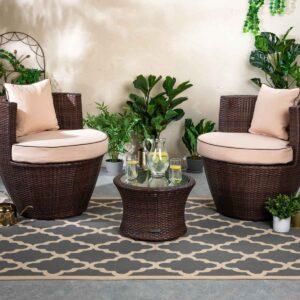 Rattan Garden Vase Set in Brown - Orlando - Rattan Direct