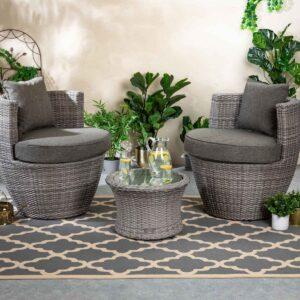 Rattan Garden Vase Set in Grey - Orlando - Rattan Direct