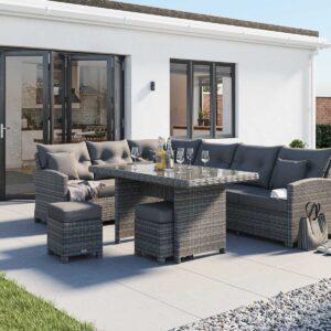 Rattan Garden Corner Dining Set in Grey - Sorrento - Rattan Direct