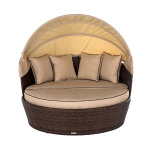 Rattan Garden Day Bed in Brown - Venice - Rattan Direct